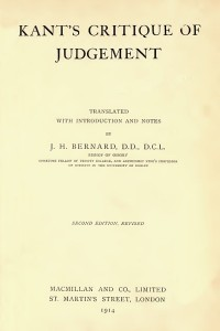 Critique of judgment - Immanuel Kant
