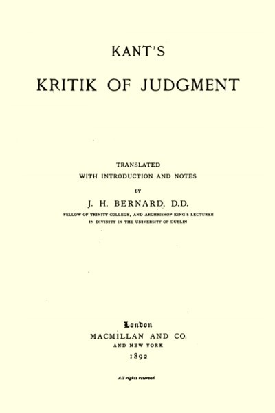 Kritik of Judgment