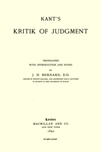 Kritik of Judgment - Immanuel Kant