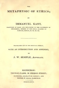 Metaphysics of ethics - Immanuel Kant