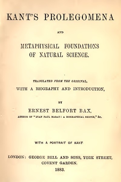 Prolegomena and Metaphysical Foundations of Natural Science