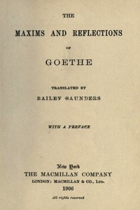Maxims and Reflections - Goethe