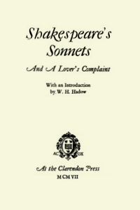 Shakespeare's Sonnets And A Lover's Complaint