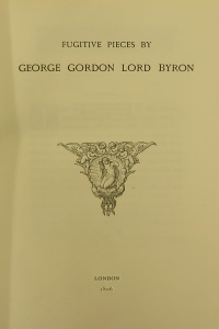 Fugitive Pieces - Lord Byron