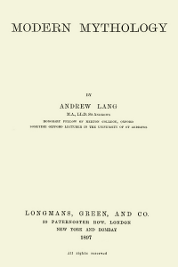 Modern Mythology - Andrew Lang