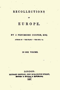 Recollections of Europe - James Fenimore Cooper
