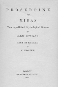 Proserpine and Midas - Mary Shelley